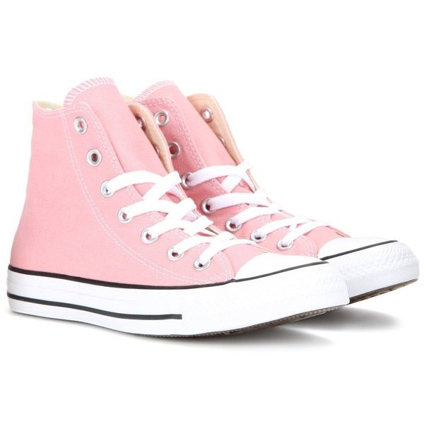 Converse Chuck Taylor All Star High-Top Sneakers ($79) ❤ liked on Polyvore featuring shoes, sneakers, pink, star shoes, pink shoes, pink sneakers, high top shoes and converse footwear