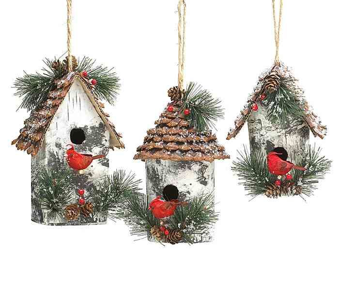 Large Vintage Birdhouse Ornament Set