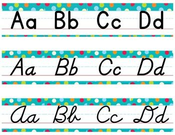 D'NEALIAN MANUSCRIPT/CURSIVE ALPHABET LINE MULTI-COLORED POLKA DOTS ON TURQUOISE - TeachersPayTeachers.com