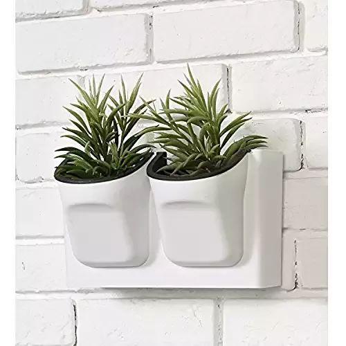 Vertical Living Wall Planter for Indoor Outdoor Herb Vegetable Flower Garden Plastic Pot, White