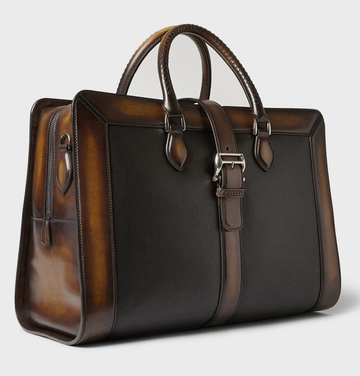 """thegentlemanssalon: """" BERLUTI VENEZIA LEATHER WEEKEND BAG As always in the case of Berluti, impeccable craftsmanship is at the core of the Franco-Italian brand's luxurious offering. This spacious weekend bag is crafted from full-grain black bull calf..."""