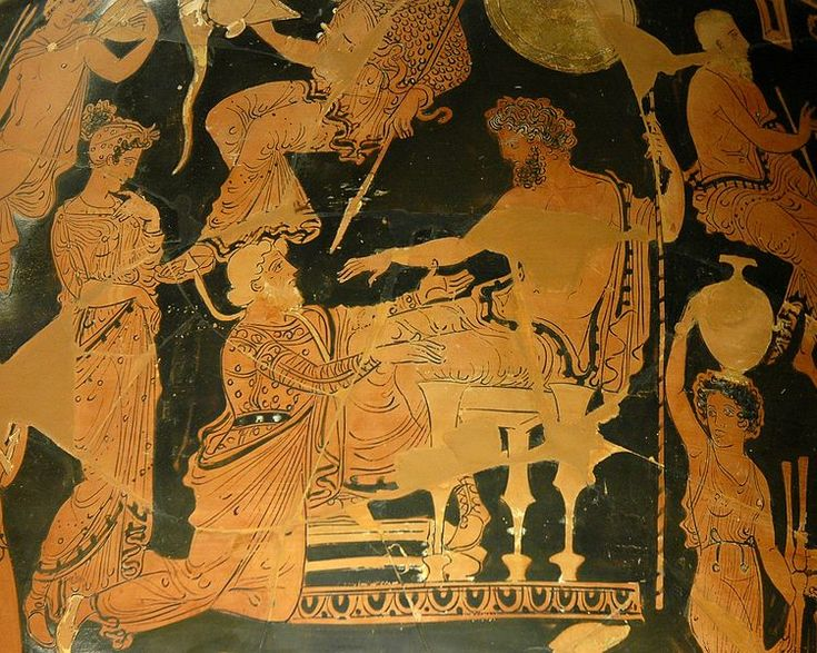 Homer, The Iliad - Chryses pleading with Agamemnon for his daughter (360–350 BC) Louvre