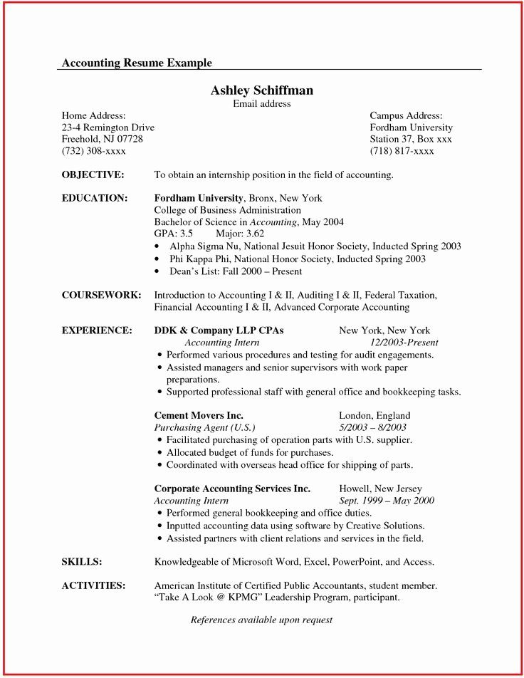 Accounting internship resume objective best of accountant