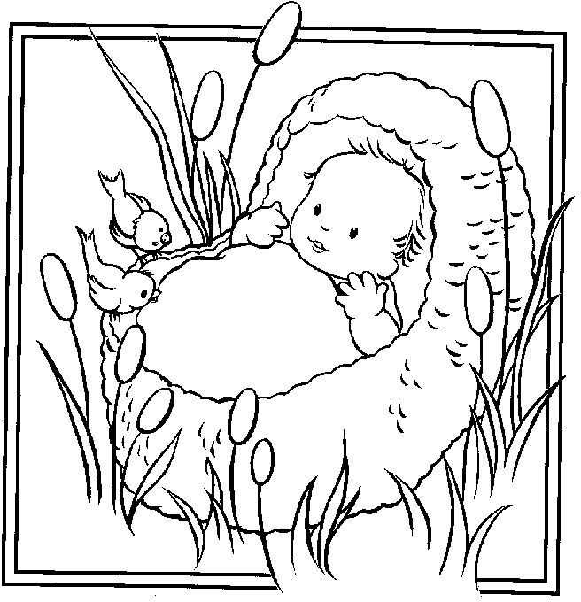 70 best moses baby images on pinterest for Free bible coloring pages moses