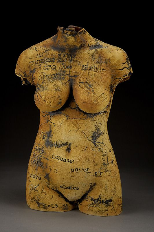 """Linda Ganstrom """"BodyBook on Marriage - Education Page"""" Stoneware fired with stains 25"""" x 15"""" x 8"""" 2003"""