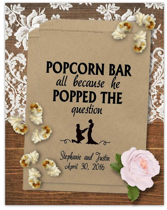 Personalized Wedding Popcorn Bags - Popcorn Bar Bags - Anniversary Party - Rustic Wedding - Poppin Couple P06-P18cp