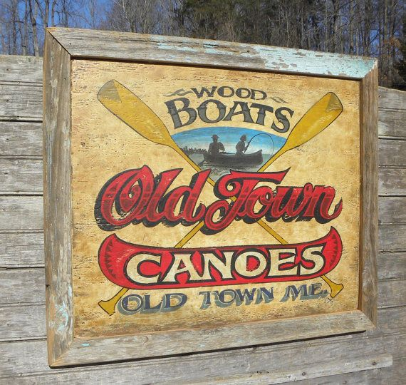 Old Town Canoe Sign hand made original wooden by ZekesAntiqueSigns, $175.00