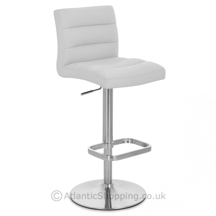 Lush Brushed Steel Bar Stool - Atlantic Shopping - grey faux leather