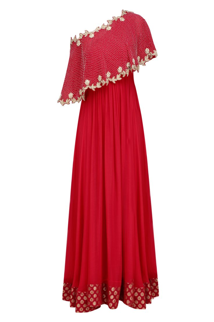 Red embroidered one off shoulder cape anarkali set available only at Pernia's Pop Up Shop.