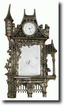 """Castle"" Mirror Mantel Clock, c.1895.  Ansonia Clock Company, (American - New York City). ~ {cwl} ~ (Image: Antique Ansonia Clocks)"