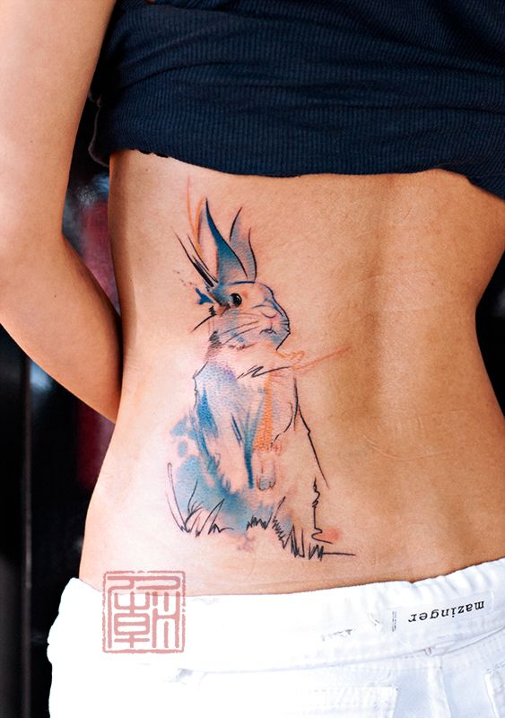 Retas' Rabbit - artwork and tattoo by Wang - www.tattootemple.hk