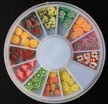 Neue Schönheit Obst Nail art Dekorationen FIMO Polymer Clay Scheibe 120 stücke Nagel Aufkleber DIY Designs Rad 3D Nail art dekorationen(China (Mainland))