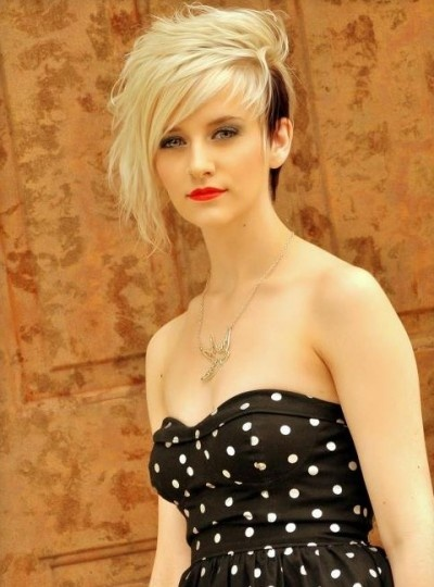 (If I ever go short again...I LOVE THIS)Side swept emo pixie style with fringe and highlights