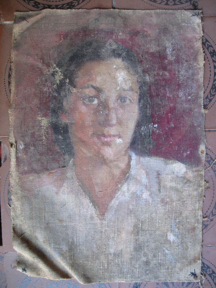 Painting old Portrait of a Woman Socialist Realism 1960 | eBay