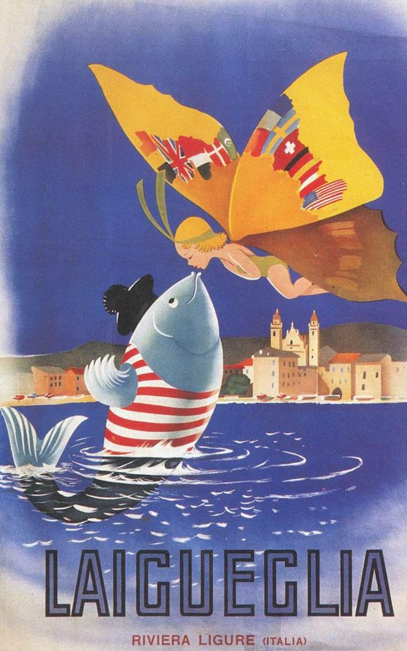 Travel poster by Filippo Romoli (1901-1969), Laigueglia. (I)