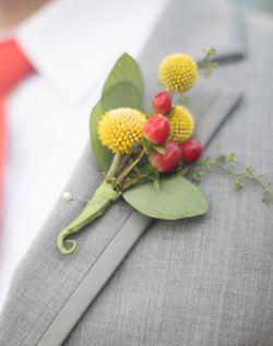 WeddingChannel Galleries: Yellow & Red Groom's Boutonniere