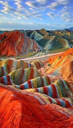 Magical Rainbow Mountains at the Zhangye Danxia Landform Geological Park in Gansu , China