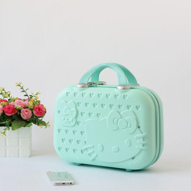 Hello kitty Women Makeup Case/Girl Cartoon Design Suitcase Handbag/14Inch Travel Boarding Luggage/Fashion Brand Carrying Case