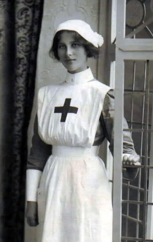 This is how my grandmother dressed as a Nurse in the early 20th Century. Romantic? Maybe...but I'm sure glad caps are a thing of the past and that scrubs came along!