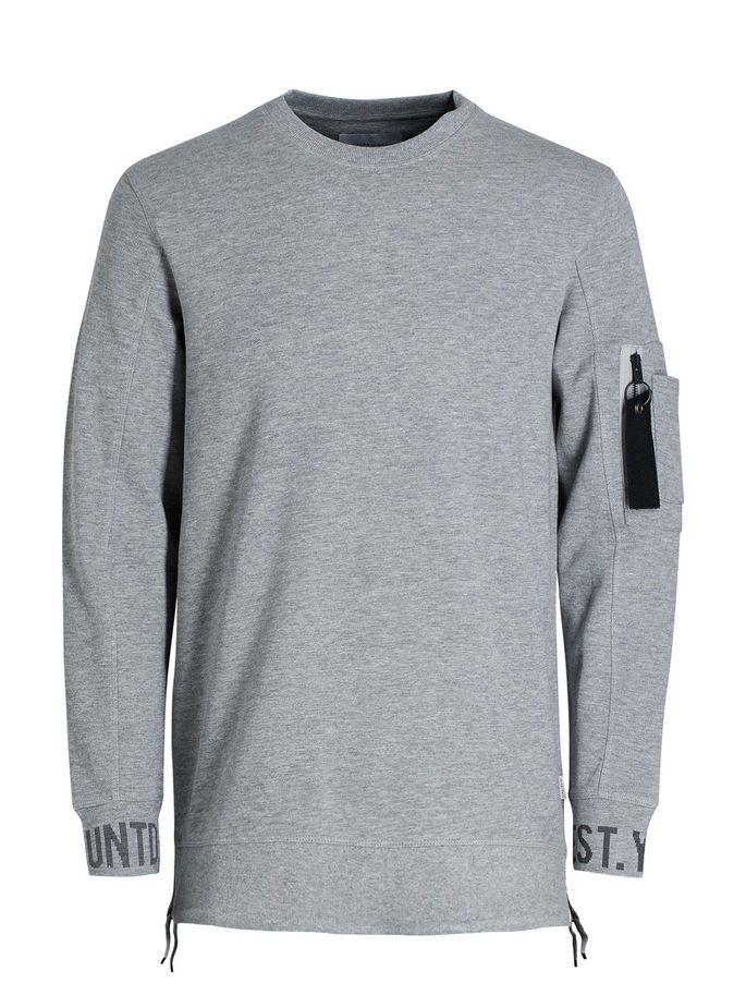 Clean cut urban look essential: Light grey graphic sweatshirt in regular fit, with drawstrings at the hem   JACK & JONES