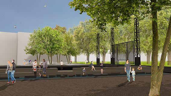 Impressie plein Stadswerven  Ontwerp: Landlab Studio voor landschapsarchitectuur