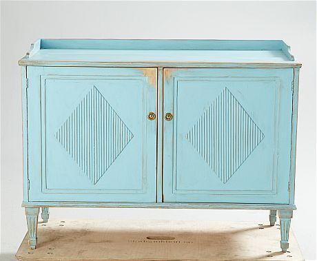 Blue gustavian cabinet diamond door #colorfurniture chest