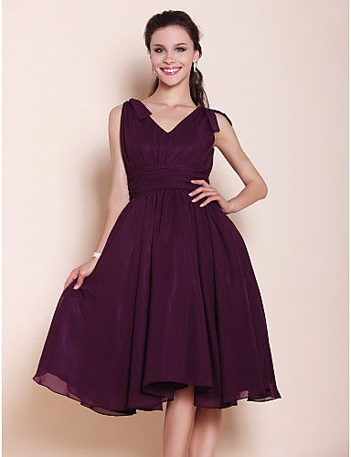 Knee-length Chiffon Bridesmaid Dress - Grape Plus Sizes / Petite A-line / Princess V-neck 2016 - $69.99