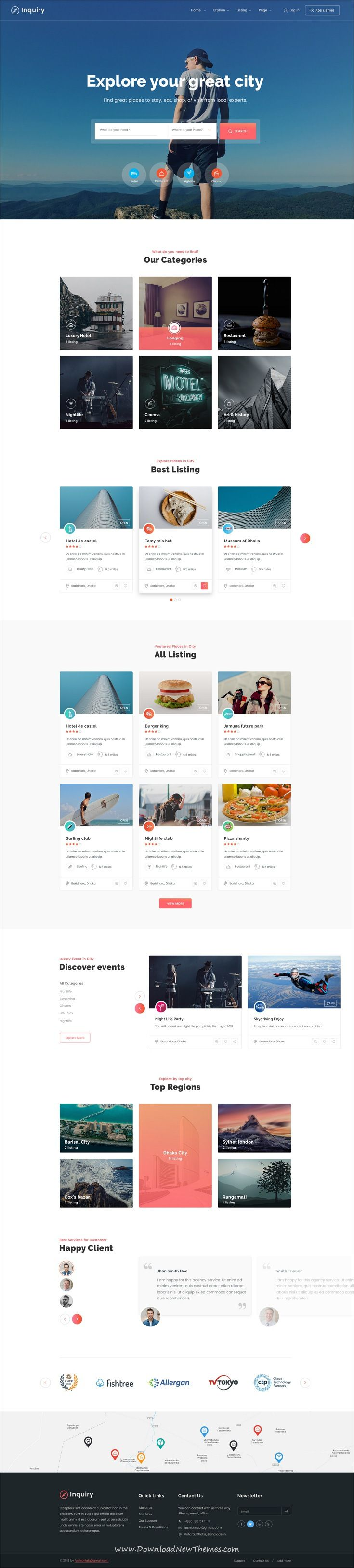 Inquiry is clean and modern design #PSD template for #directory #listing #website with 36 layered PSD files to live preview & download click on image or Visit