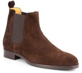 $348, Brown Suede Chelsea Boots: Saks Fifth Avenue Collection Suede Chelsea Boots. Sold by Saks Fifth Avenue. Click for more info: http://lookastic.com/men/shop_items/112844/redirect