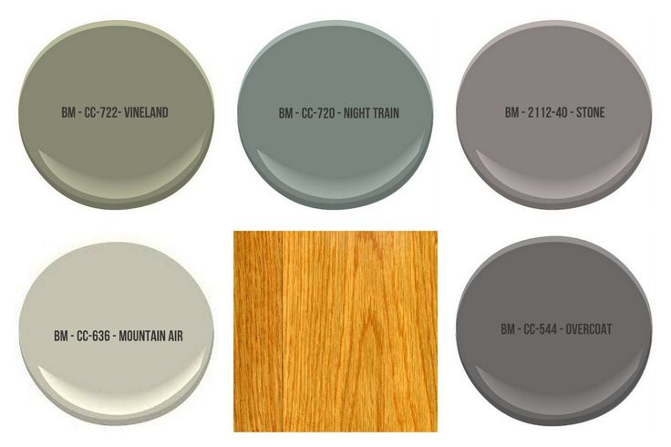All colors shown are by Benjamin Moore - paint colors to compliment honey oak trim