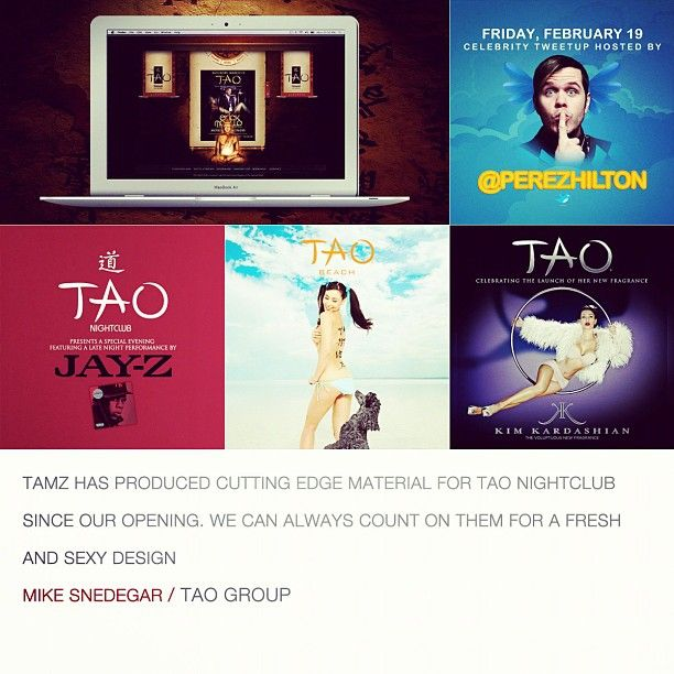 """""""TAMZ has produced cutting edge material for TAO nightclub since our opening. We can always count on them for a fresh and sexy design"""" - Mike Snedegar"""
