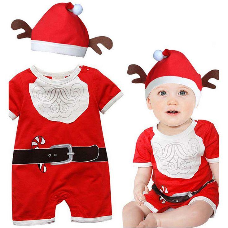 Розничная младенческой Рождество одежда для новорожденных мальчики девочки с коротким рукавом Рождество комбинезон малыша красный Дед Мороз ползунки в шляпе детская одежда горячая