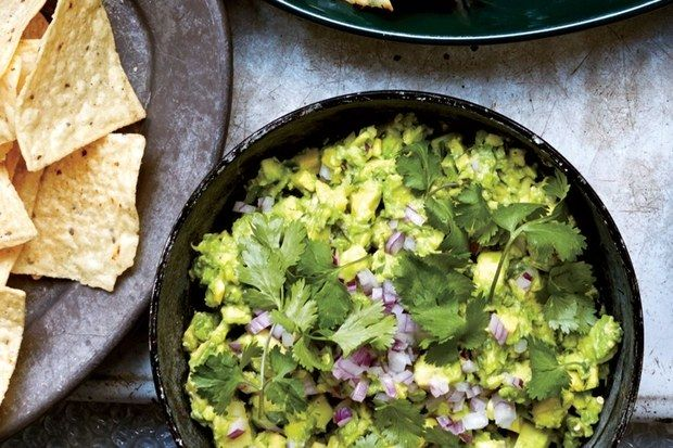 Celery Spiked Guacamole with Chiles:  Serves 2, 4 each – ripe avocados 1 each – celery stalk, chopped 2 each – Serrano chilies, chopped with seeds 2 each – garlic cloves, grated 3 tbsp – fresh lime juice ¼ each – red onion diced ½ cup – cilantro, chopped Kosher salt to taste Serve with Tortilla Chips *For the full recipe, visit our website!