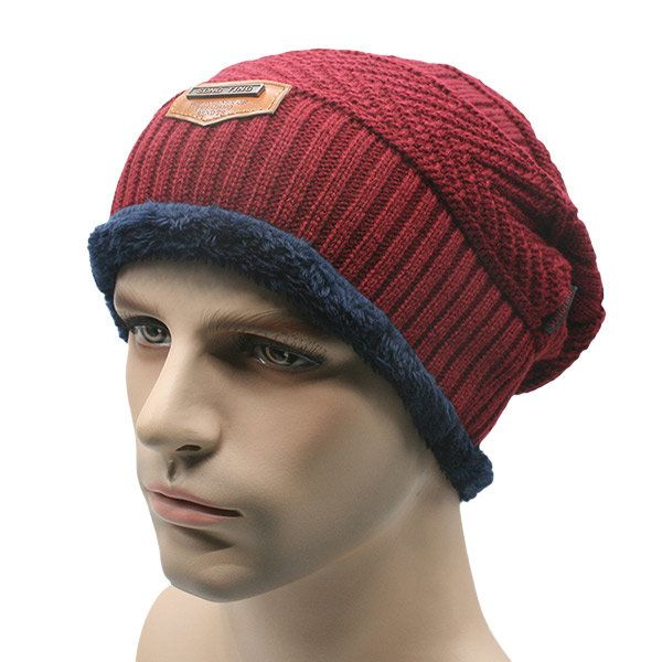 Homme couches tricotées Slouch Beanie Hat Double Warm Winter Ski Cap Outdoor