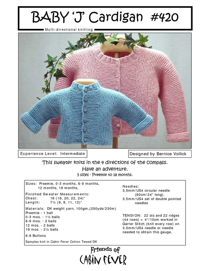 """Baby """"J"""" Multidirectional, No-Sew, baby cardigan.  Five Sizes Preemie to 18 Months.    Designer: Bernice Vollick  Publisher: Cabin Fever"""