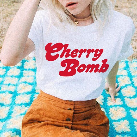 Cherry Bomb Tee / womens graphic tees / 70s vintage style t