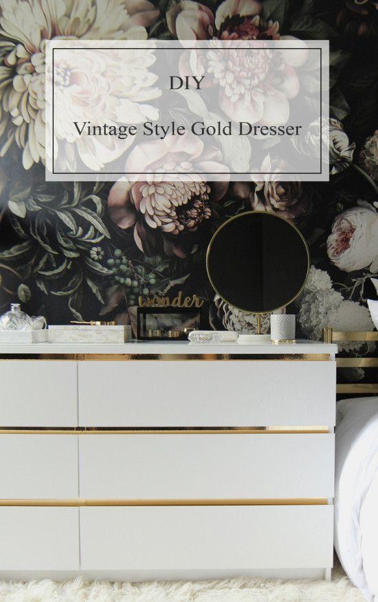 DIY IKEA Malm Vintage Style Gold Dresser                                                                                                                                                                                 More