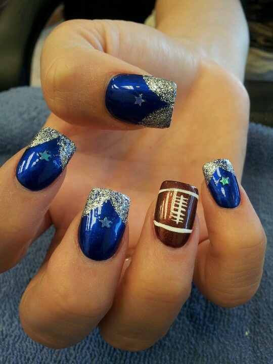 ... Cowboy Nails Designs, Nail Designs Dallas Cowboys, Dallas Cowboy Nail