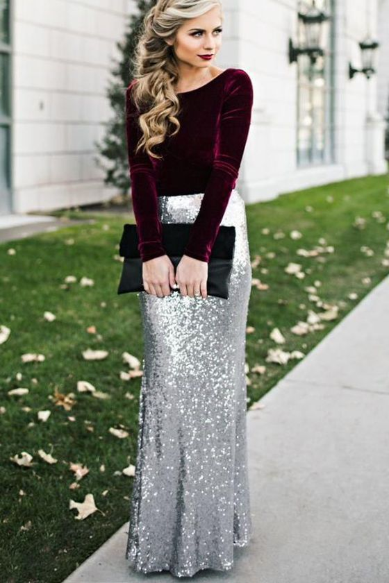Kickin' Up Stardust Silver Sequin Maxi Skirt | Fashion