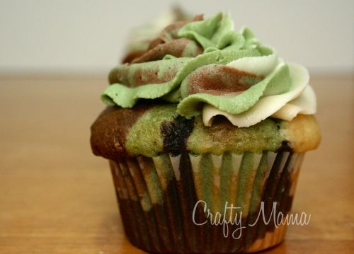Camouflage Cupcakes! For the guys' hunting trip :) OMG Mom and @Kristy Hyten this has to be done. lol