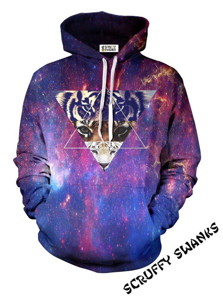 Galaxy Tiger All Over Print Hoodie | Scruffy Swanks. Str. XS