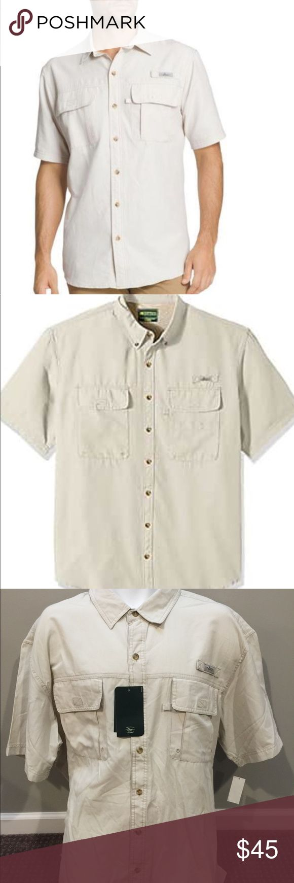 "GH Bass & Co silver birch explorer fishing shirt Solid cotton mix casual fishing shirt Velcro flap single pleat chest pockets Full button front with logo tag and short sleeves UPF 40 Sun Blocker and moisture wicking material  Measurements laying flat: Chest: 28""  Length down back: 34""  Condition:   New with tags!  Retail Price:   $68  Stock #:  AMR1-349 G.H. Bass & Co Shirts Casual Button Down Shirts"