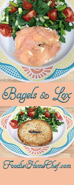 Bagels & Lox - One of my favorite indulgences. Years ago I used to eat both bagel halves in one sitting. Now, with the price of lox up in the stratosphere & to make this meal lighter & healthier, I only eat half the bagel & compliment it with a side salad with a little dressing on top. Without the side salad this makes an easy #breakfast, with the salad it's great for #brunch or #lunch. --------- #Food #Cooking #Recipes #Recipe #Cuisine #GreatFood #HomeCooking #Bagels #Lox #Sandwich…