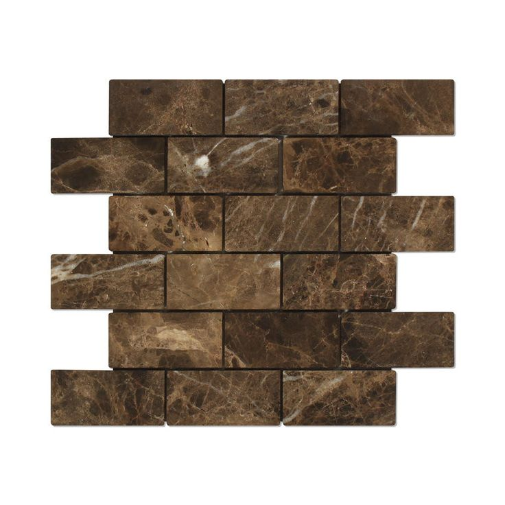 2 X 4 Emperador Dark Marble Tumbled Brick Mosaic Tile