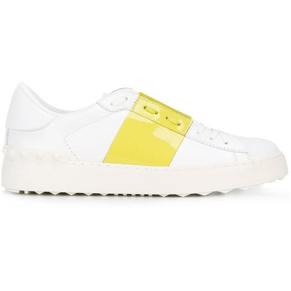 Valentino Garavani Open sneakers (13,190 MXN) ❤ liked on Polyvore featuring shoes, sneakers, white, round toe sneakers, white trainers, colorblock shoes, valentino trainers and color block sneakers