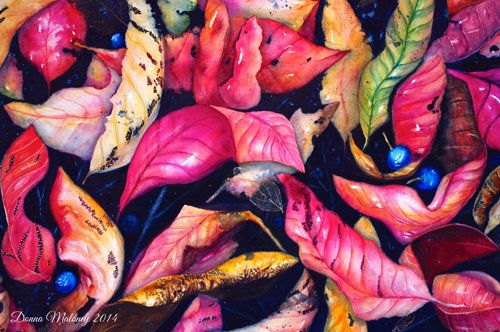 """""""Rainforest Leaves"""" Mixed Media, 82cm x 101cm by artist Donna Maloney. See her portfolio by visiting www.ArtsyShark.com"""