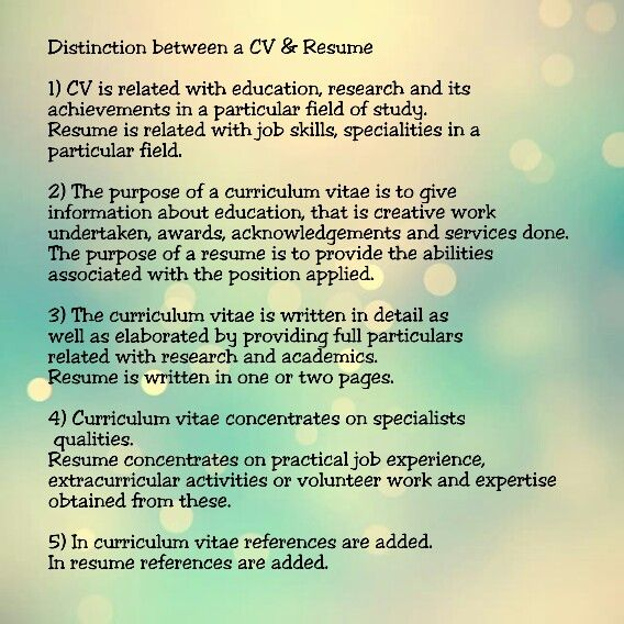 Distinction between CV \ Resume HipCv Resume Tips \ Articles - qualities for resume