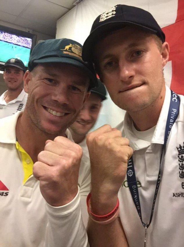 Joe Root and David Warner make peace as they bump fists in a picture #dailymail