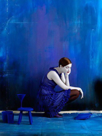 Another representation of the colour blue is actually feeling blue or sad. This is what this images gives us a feeling off.