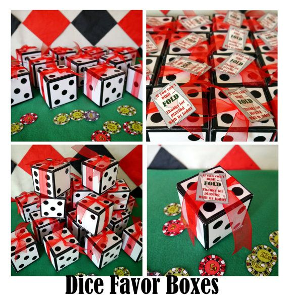 dice favor box or invitation box - perfect for a casino poker party or gambling Las Vegas game night - printable or ready made available